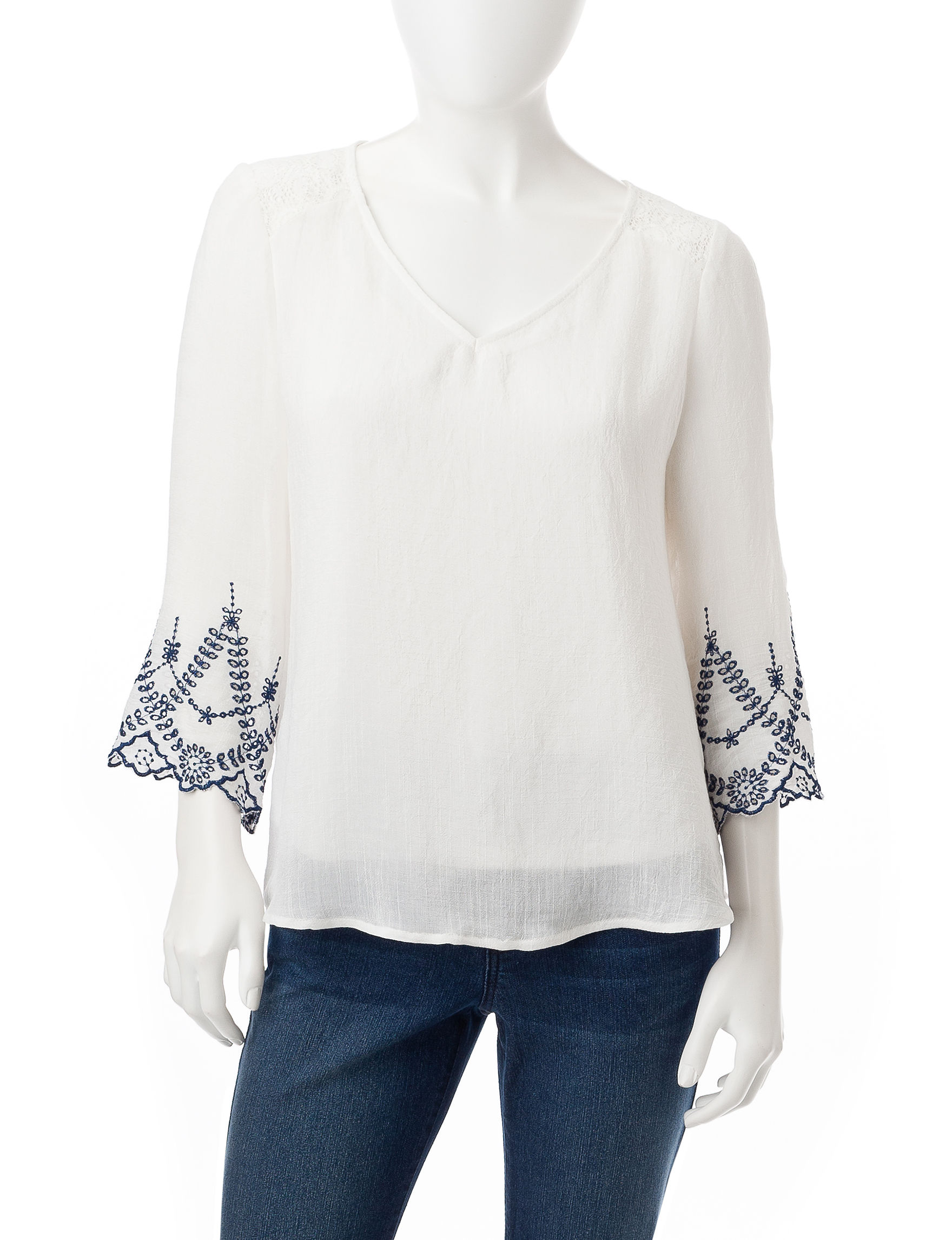 Figuero & Flower Ivory/Navy Shirts & Blouses
