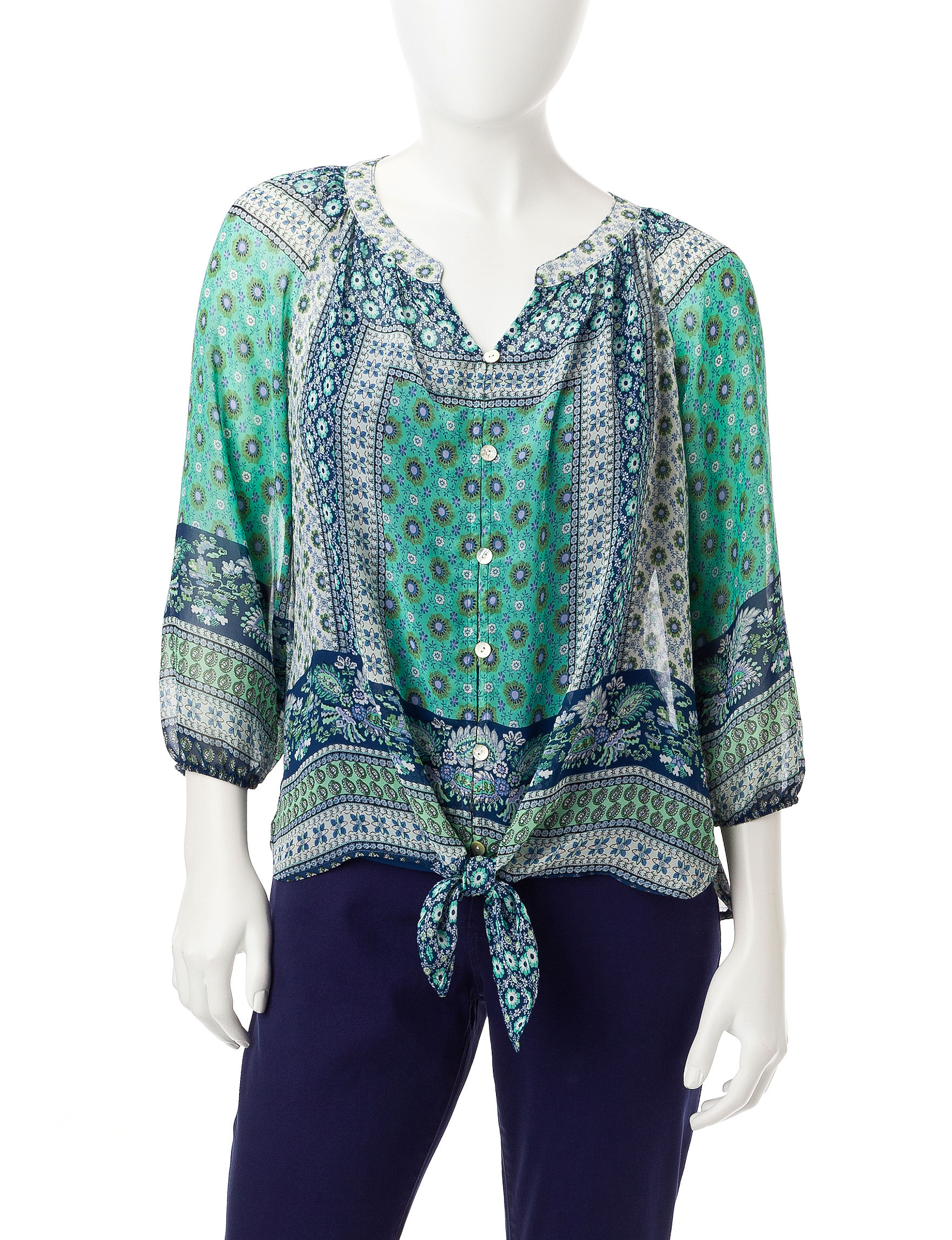 Figuero & Flower Seafoam Shirts & Blouses