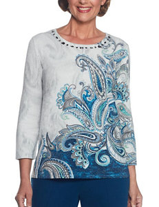 Alfred Dunner Blue Multi Sweaters