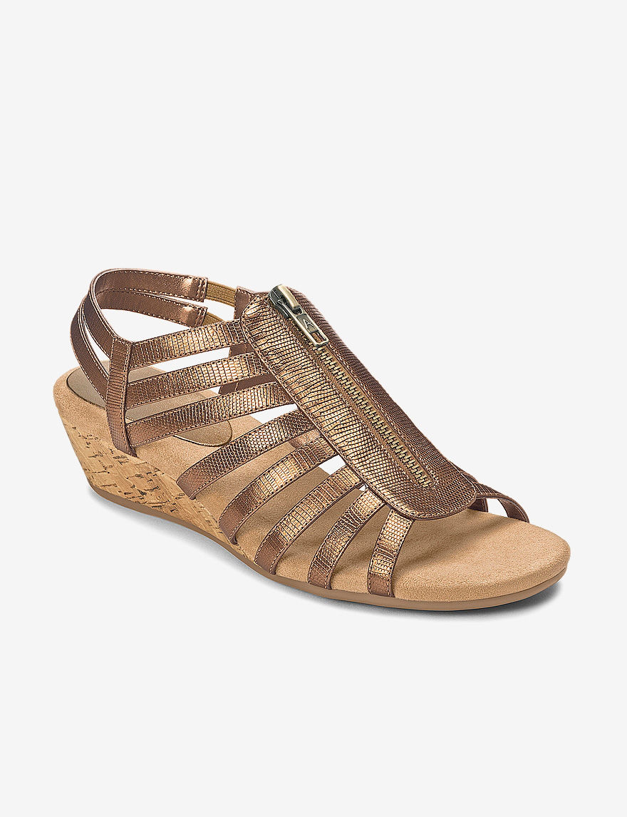A2 by Aerosoles Silver Wedge Sandals Comfort