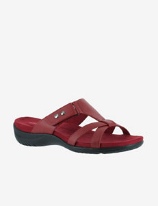 Easy Street Red Flat Sandals