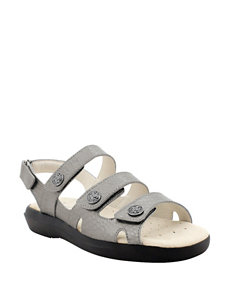 Propet SIlver Flat Sandals Comfort