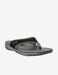 Propet Black Flat Sandals Flip Flops Comfort