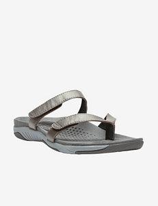 Propet Pewter Flat Sandals