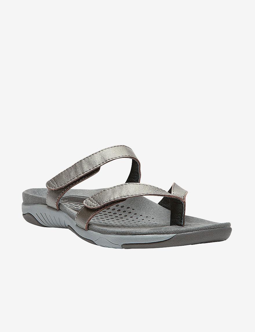 Propet Pewter Flat Sandals Comfort
