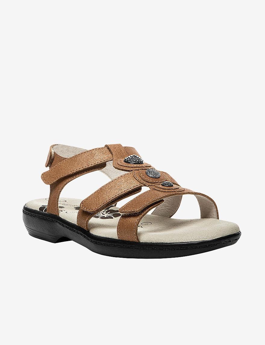 Propet Bronze Flat Sandals