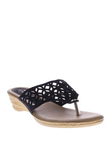 Spring Step Black Flip Flops Wedge Sandals