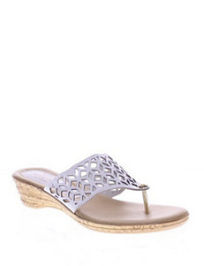 Spring Step White Flip Flops Wedge Sandals