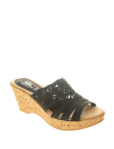 Spring Step Black Wedge Sandals