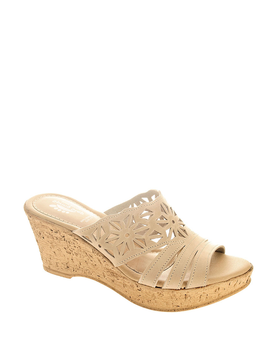Spring Step Beige Wedge Sandals