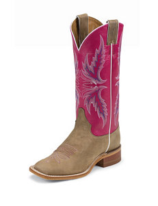 Justin Pink Vintage Cow Bent Rail Western Boots