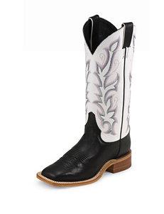 Justin Black Vintage Cow Bent Rail Western Boots