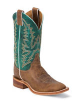 Justin Green Vintage Cow Bent Rail Western Boots