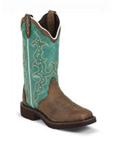 Justin Barnwood Brown Western Boots