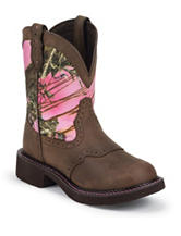 Justin Pink Aged Bark Western Boots