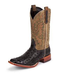 Nocona Black Premium Full Quill Ostrich Western Boots