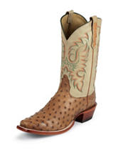 Nocona Cognac Waxy Premium Full Quill Ostrich Western Boots