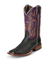 Nocona Black Premium Smooth Ostrich Western Boots