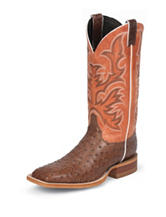 Justin Brown Vintage Full Quill Ostrich Western Boots