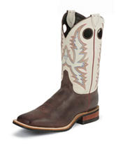 Justin White Bent Rail Western Boots