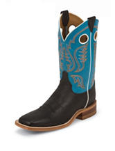 Justin Bright Blue Top Bent Rail Western Boots