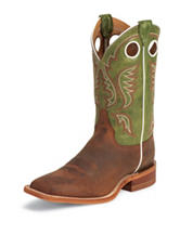 Justin Green Top Bent Rail Western Boots