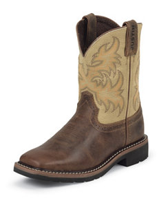 Justin Waxy Brown Western Boots – Kids