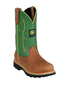 John Deere Lad Tan & Green Western Boots