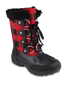 London Fog Black / Red Winter Boots