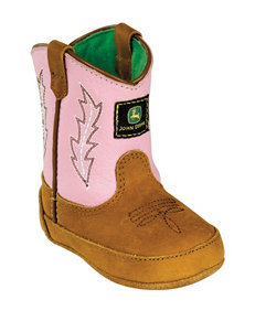 John Deere Pink Johnny Popper Crib Boots – Baby 0-4