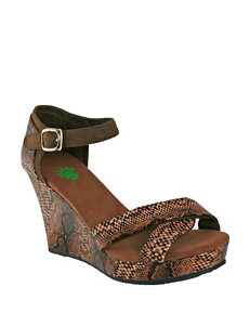 USA Dawgs Brown Wedge Sandals