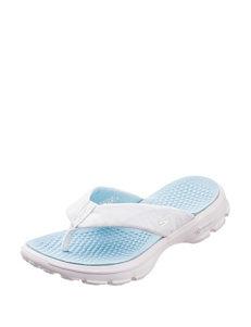 Skechers White / Blue Flip Flops