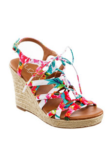 Sugar White Wedge Sandals