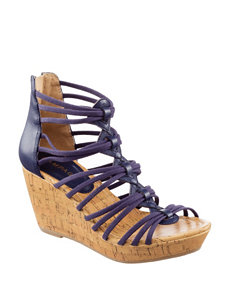 Rampage Navy Wedge Sandals