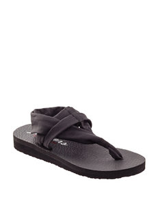Skechers Black Flat Sandals Sport Sandals