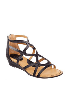 B.O.C. Black Gladiators Wedge Sandals