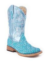 Roper Glitter Flower Western Boots –Girls 9-3