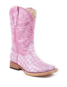 Roper Glitter Check Western Boots –Girls 9-3