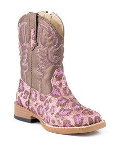 Roper Glitter Leopard Western Boots –Toddler Girls 5-8