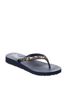 Skechers Navy Flat Sandals Flip Flops