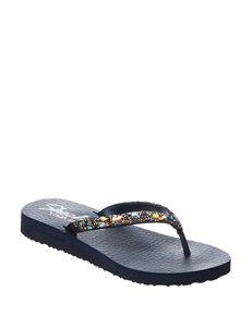 Skechers Navy Flat Sandals Flip Flops