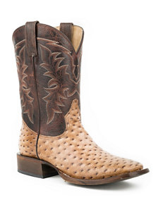 Roper Tan Faux Ostrich Cowboy Boots