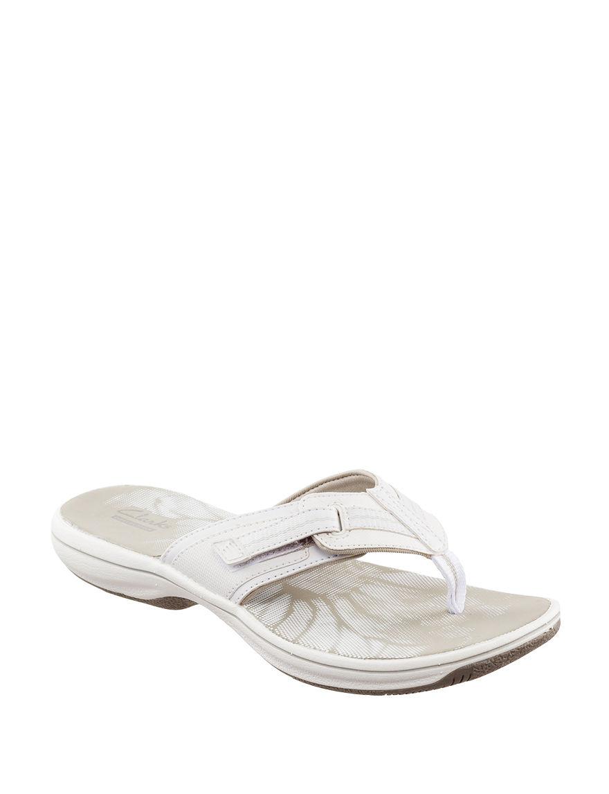 Clarks White Flip Flops