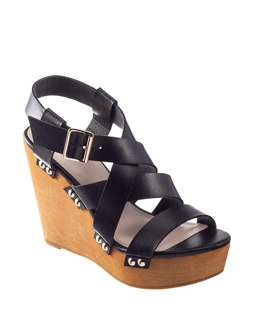 Fergie Black Wedge Sandals