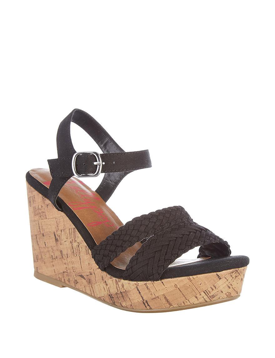 Jellypop Black Wedge Sandals