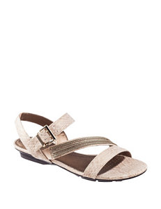 Life Stride Champagne Flat Sandals