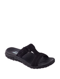 Skechers Black Flat Sandals Sport Sandals