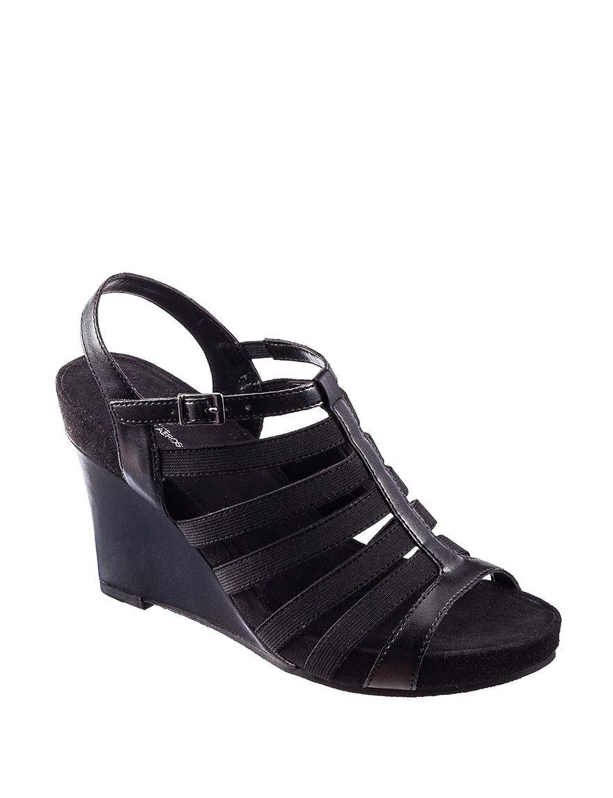 A2 by Aerosoles Black Wedge Sandals