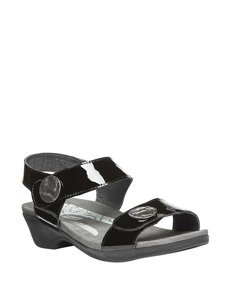 Propet Black Flat Sandals Comfort