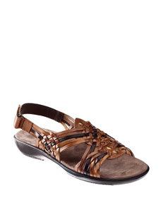 Natural Soul Brown Flat Sandals